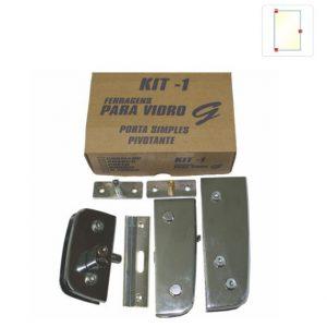 KIT 01 Ferragens para Vidro em Zamac - Porta Simples Pivotante